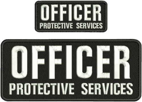 OFFICER PROTECTIVE SERVICES EMBROIDERY PATCH 4X10 & 2X5 HOOK ON BACK BLK/WHITE