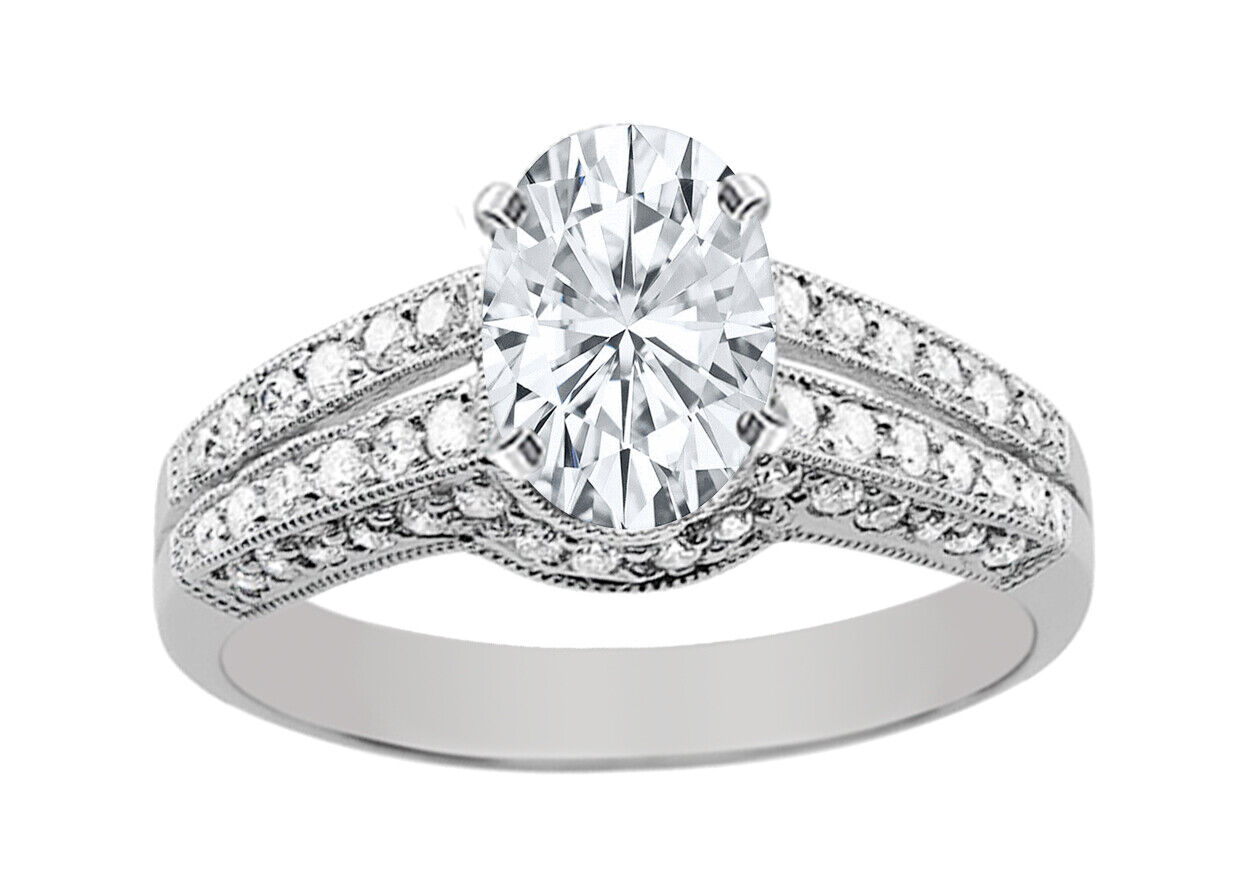 GIA Certified Diamond Engagement Ring 2.48 CTW Oval & Round Cut 18k White Gold