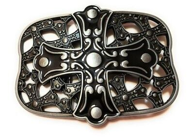 *` NEW CELTIC Design CROSS AND SHIELD Christian  ` Full Metal BELT BUCKLE  Cross Shield Belt Buckle