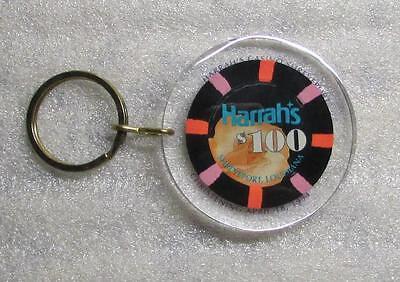 Harrahs Christening April 16 1994 $100 Casino CHIP KEY CHAIN Ring Keychain