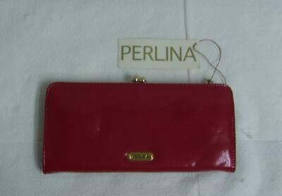 New Perlina Red Patent Leather Wallet Push Lock Closure Push Lock Wallet