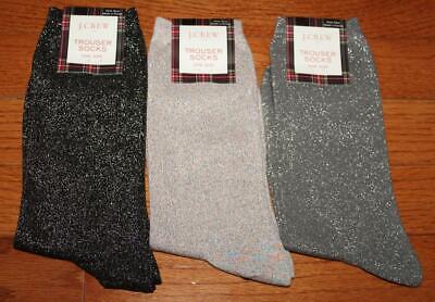 Three (3) NEW NWT J. Crew Womens Trouser Socks Lurex Shiny Metallic Glitter *4K