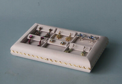 6 Section 8 X 5 White Leatherette Earring Tray Display Case De3w