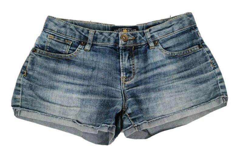 Lucky Brand 12 Riley Short Jean Shorts Blue Medium Wash Distressed Denim Girls