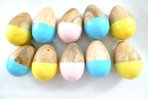 10 Painted Wood EGGS Easter Display Pastel Colors Holiday Home Decor