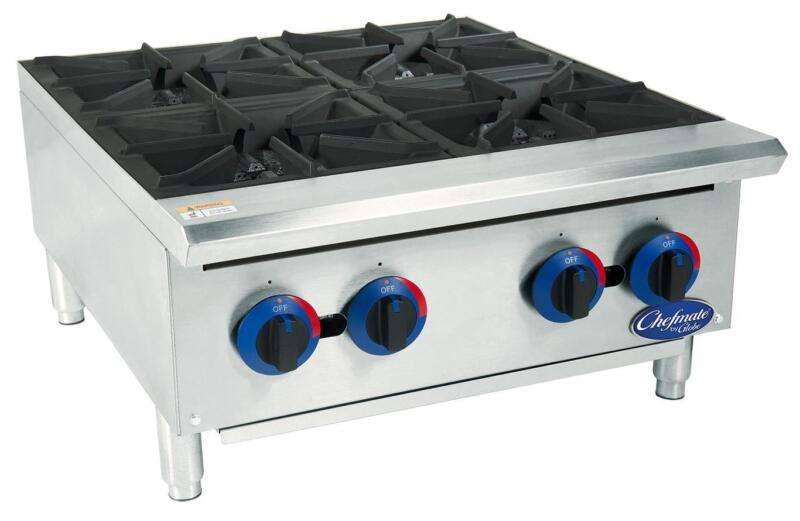 """Globe C24ht 24"""" Chefmate Gas Hot Plate 4 Burners With Manual Controls"""