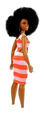 Barbie Fashionistas Doll 105 Afro Hair Stripe Dress Deluxe Exclusive Fashionista