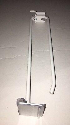 White Slatwallpeg Board Hooks W Price Tag Scanner Holder 10 Wide-10pcs-ship24