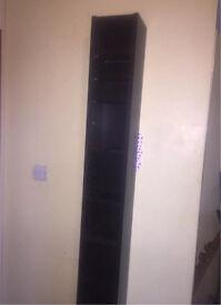 Dark brown slimline tall CD,DVD, Blue Ray storage tower