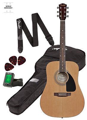 BestAcousticGuitarStrings DreadnoughtStrap Fender FA100 Bundle Kit Natural