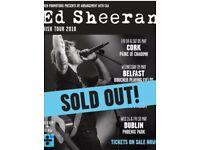 2 x Ed Sheeran tickets (seated) for Sat, May 5th in Páirc Uí Chaoimh - Cork