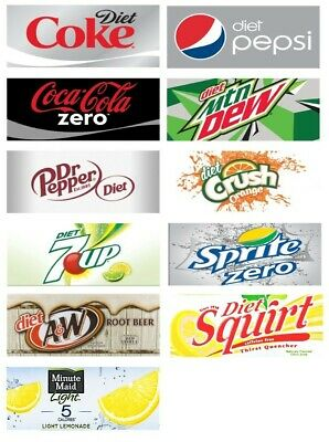 Diet Soda Vending Machine Labels - Coke Pepsi Mt. Dew Crush Etc.