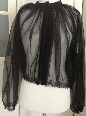 Lanvin for H&M Jacke Blouson Tüll Schwarz Jacket Black EUR Gr.36 size US 6 UK 10