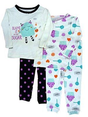 Carters Girl 4PC Sweets Candy Halloween Cotton Long Sleeve Fall Pajama Set CUTE! (Cute Girl Pajamas)