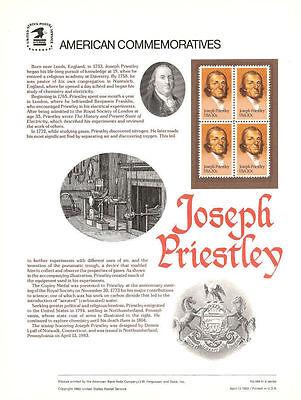 184 20C JOSEPH PRIESTLEY CHEMIST 2038 USPS COMMEMORATIVE STAMP PANEL
