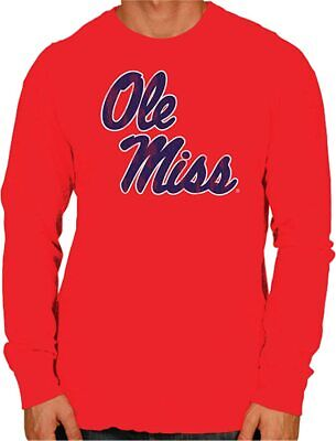 Ole Miss Rebels Long Sleeve Shirt Small Red FREE SHIPPING