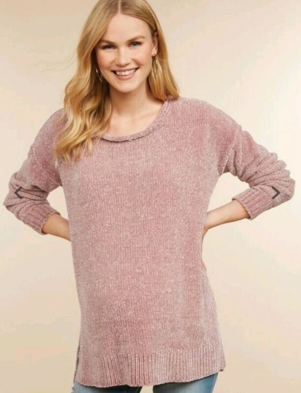 Jessica Simpson Rolled Hem Maternity Sweater size L/XL Pink