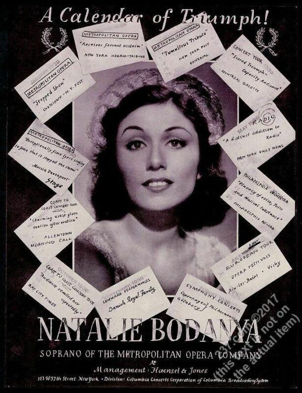 1939 Natalie Bodanya photo opera recital tour booking vintage trade ad
