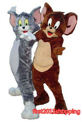 Cat And Mouse Costume (Tom Cat and Jerry Mouse Mascot Costume Cartoon Character Party Fancy Dress)