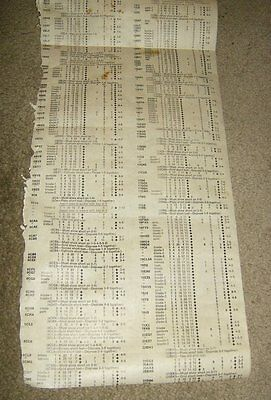 Vintage Precision 10-12 Tube Tester Roll Chart Incomplete