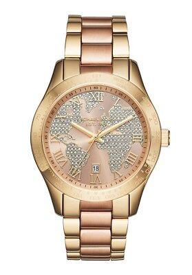 Michael Kors MK6476 Women's Layton Rose/Gold Globe Dial Two-tone Bracelet Watch  ()