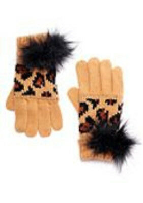 Donna Salyers Fabulous Faux Furs Leopard Print Knit Gloves NEW Glam