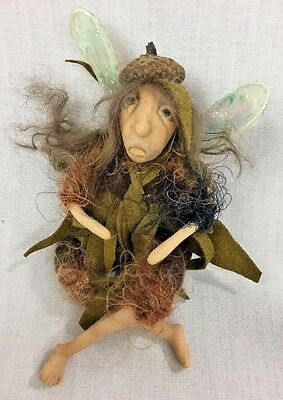 Handmade Polymer Clay Posable Sculpture Wood Fairy Art Doll