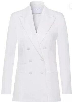 IVY & OAK Double Breasted Tuxedo Blazer Deep V Neck Snow White EU 42 UK 14 €149