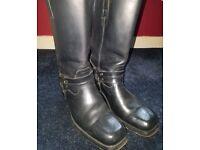 LOBLAN 295 black harness biker/cowboy boots EU45 UĶ 10.5