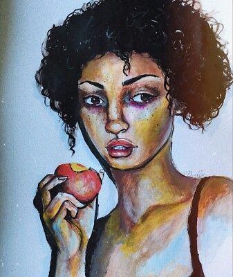 ORIGINAL Gemälde Acryl Frau Porträt EINZELSTÜCK DIN A2 female NEU Papier Frucht