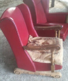 Vintage retro red antique shabby chic rocking chair