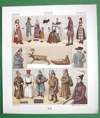 SWEDEN Raindeer Sledge Costume of Lapps Peasants - RACINET Color Litho Print - Raindeer Costumes