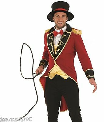 Deluxe Mens Ringmaster Adult Circus Lion Tamer Tailcoat Fancy Dress Costume Whip - Costume Whip