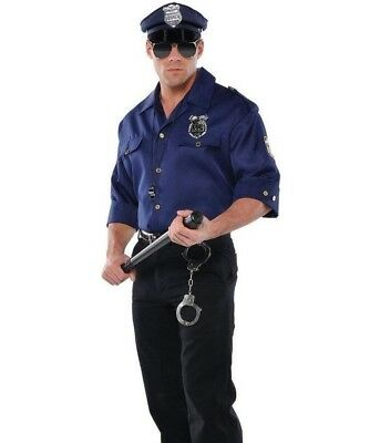Police Officer Costume Shirt Adult Mens Cop Sheriff - Fast Ship -