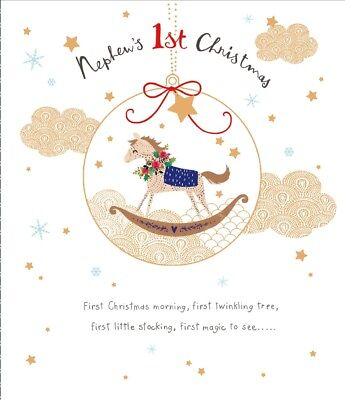 Nephew's 1st Christmas Greeting Card Embellished Special Xmas Cards ()