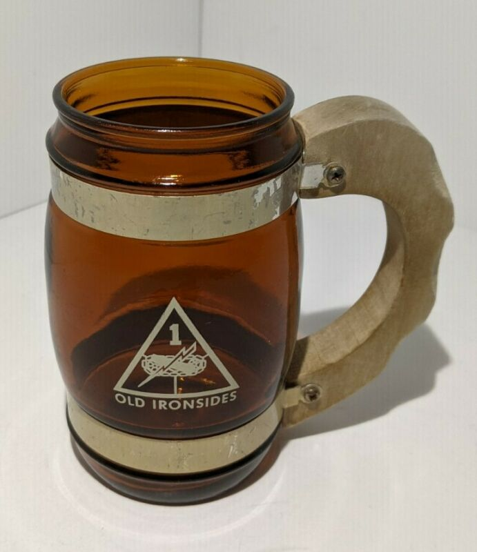 Old Ironsides, U.S Army 1st Armored Division Vintage Glass Mug with Wood Handle