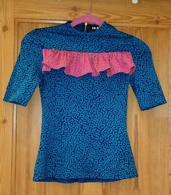 HOUSE OF HOLLAND Pufferfish Short Sleeved Frill Top - UK Size 6