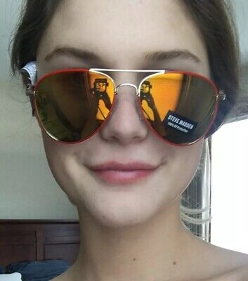 NEW Steve Madden Red Frame Gold/Green Mirror Aviator Sunglasses Womens (Small Frame Aviator Sunglasses)