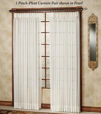 """Splendor Semi Sheer Pinch Pleat Drapery Curtain Pair 48""""X84"""" Pinch Pleated Drapery"""