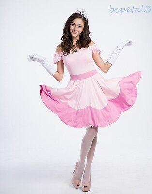 Women Super Mario Peach Toadstool Pink Princess Halloween Xmas Costume  Dress