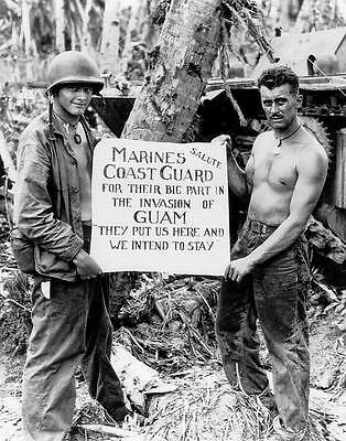 Wwii Photo Us Marines Us Coast Guard Guam Usmc Pacific  World War 2 Ww2   1193