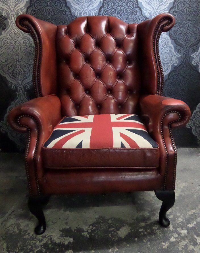beautiful chesterfield queen anne wing back chair oxblood red