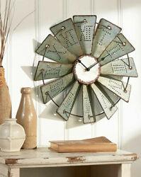 Metal Windmill Wall Clock 14.5 Primitive Country Farm House Decor