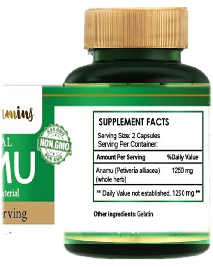 Natural Whole Herb Anamu PIlls 1250Mg Guinea Hen Weed 120 Capsules 3
