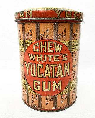Vintage Chew White's Yucatan Gum Tin Counter Display