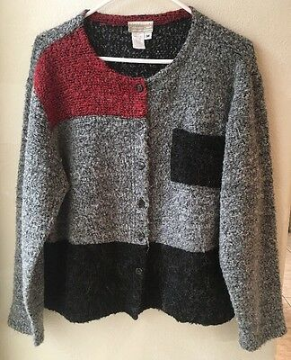 Cold Water Creek Medium Button Color Block Sweater Mohair Wool Blend Made USA  Cold Water Acrylic