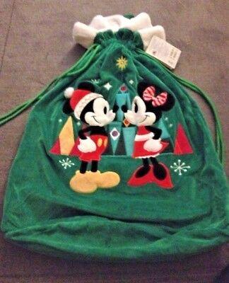 Disney Mickey & Minnie Mouse Holiday Christmas LARGE Santa Plush Gift Sack Bag ()