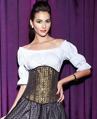 lace Up Medieval Renaissance Costume Waist training Corset Jacquard Steel Boned