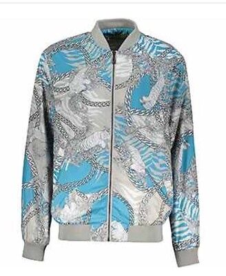 VERSACE JEANS Baroque & Chain Print  Bomber Jacket - Grey & Blue - UK 44/IT 54