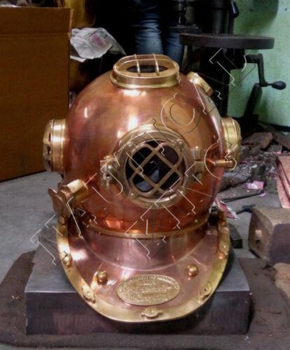 Vintage Antique Diving Divers Helmet U.S Navy Mark V Full Size Scuba Steel 18